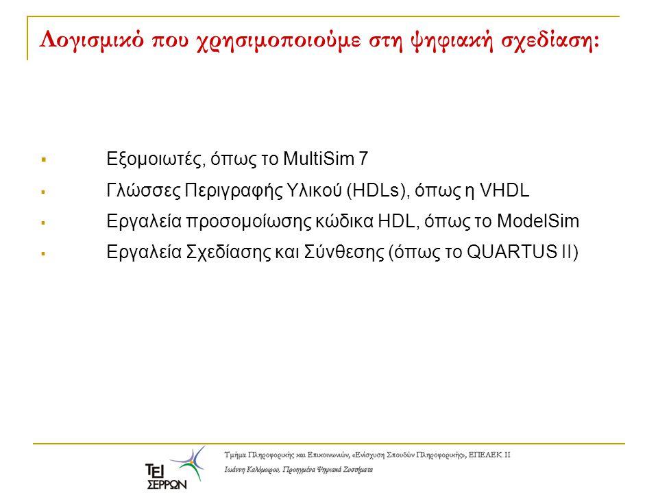 Λογισμικό που χρησιμοποιούμε στη ψηφιακή σχεδίαση:  Εξομοιωτές, όπως το MultiSim 7  Γλώσσες Περιγραφής Υλικού (HDLs), όπως η VHDL  Εργαλεία προσομο