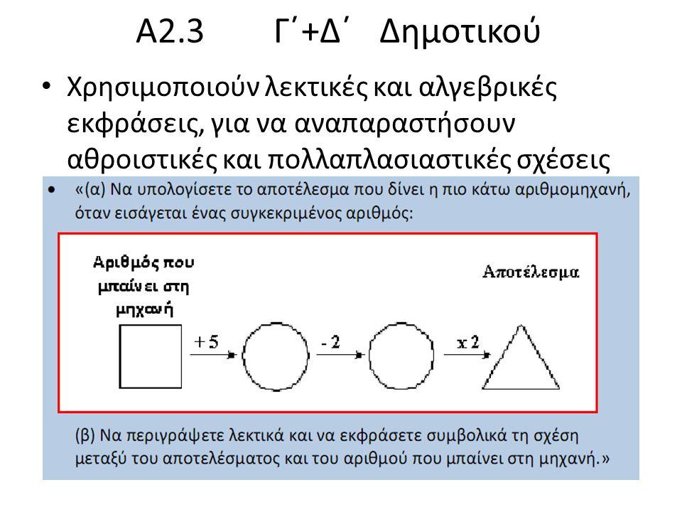 Α2.3 Γ΄+Δ΄ Δημοτικού Χρησιμοποιούν λεκτικές και αλγεβρικές εκφράσεις, για να αναπαραστήσουν αθροιστικές και πολλαπλασιαστικές σχέσεις