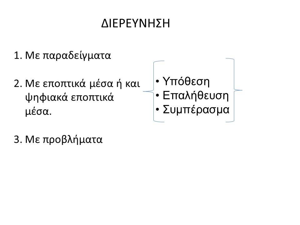 ΔΙΕΡΕΥΝΗΣΗ 1.Με παραδείγματα 2.Με εποπτικά μέσα ή και ψηφιακά εποπτικά μέσα.