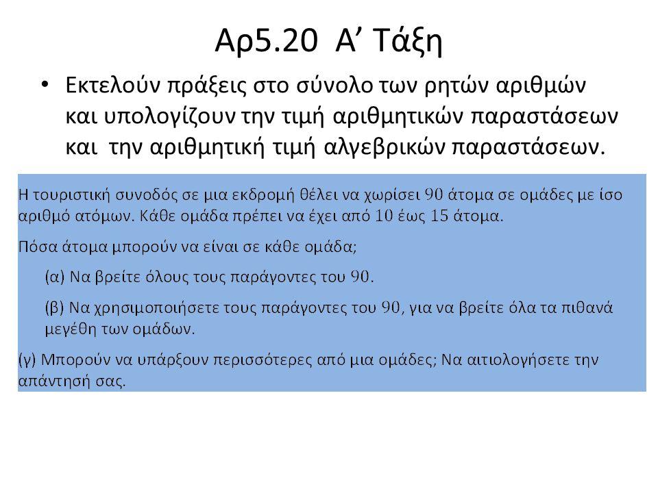 Αρ5.20 Α' Τάξη Εκτελούν πράξεις στο σύνολο των ρητών αριθμών και υπολογίζουν την τιμή αριθμητικών παραστάσεων και την αριθμητική τιμή αλγεβρικών παραστάσεων.