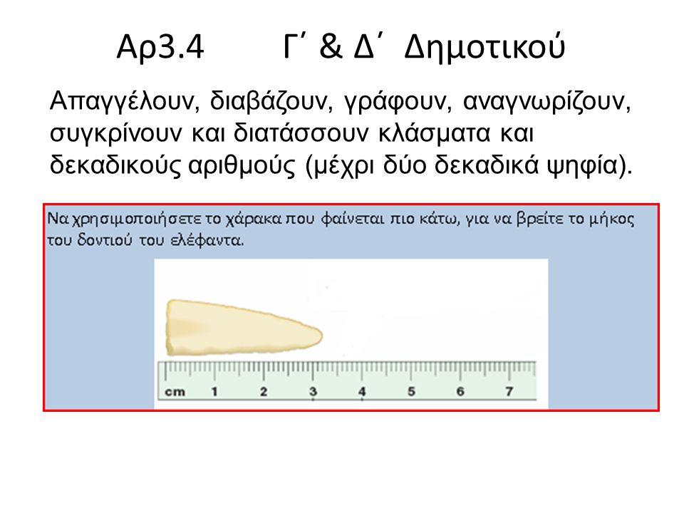 Aρ3.4 Γ΄ & Δ΄ Δημοτικού Απαγγέλουν, διαβάζουν, γράφουν, αναγνωρίζουν, συγκρίνουν και διατάσσουν κλάσματα και δεκαδικούς αριθμούς (μέχρι δύο δεκαδικά ψηφία).