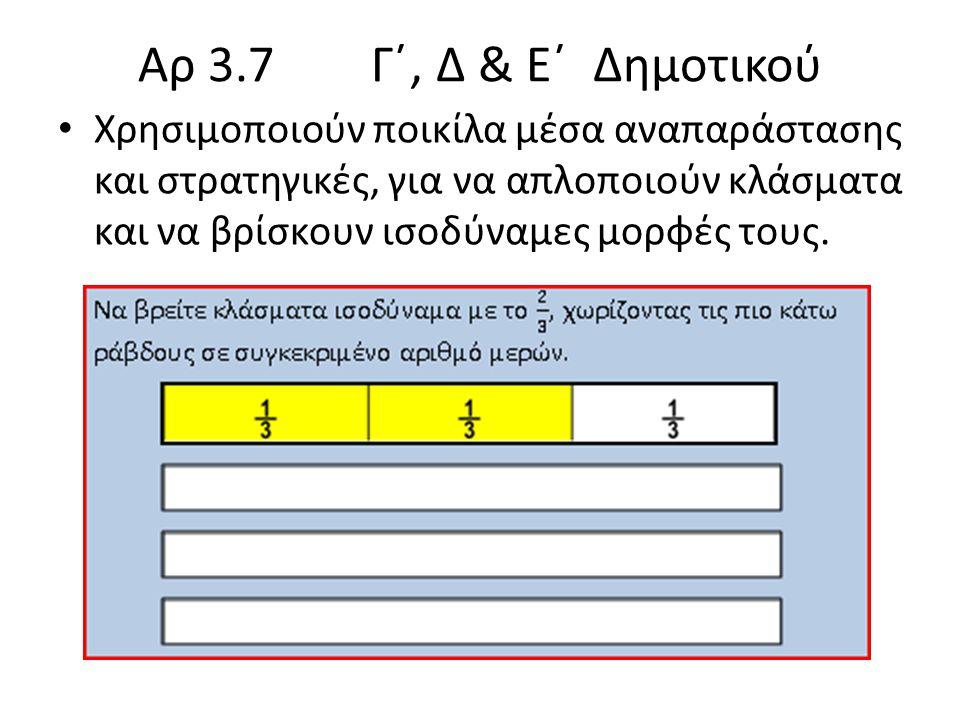 Αρ 3.7 Γ΄, Δ & Ε΄ Δημοτικού Χρησιμοποιούν ποικίλα μέσα αναπαράστασης και στρατηγικές, για να απλοποιούν κλάσματα και να βρίσκουν ισοδύναμες μορφές τους.