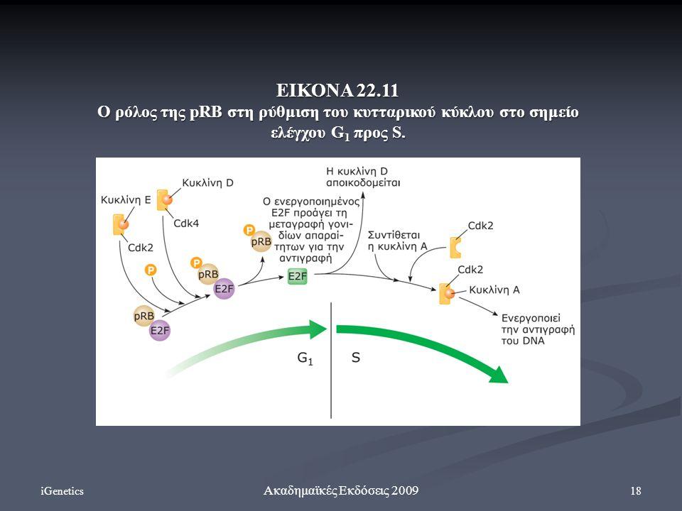 iGenetics 18 Ακαδημαϊκές Εκδόσεις 2009 ΕΙΚΟΝΑ 22.11 Ο ρόλος της pRB στη ρύθμιση του κυτταρικού κύκλου στο σημείο ελέγχου G 1 προς S.
