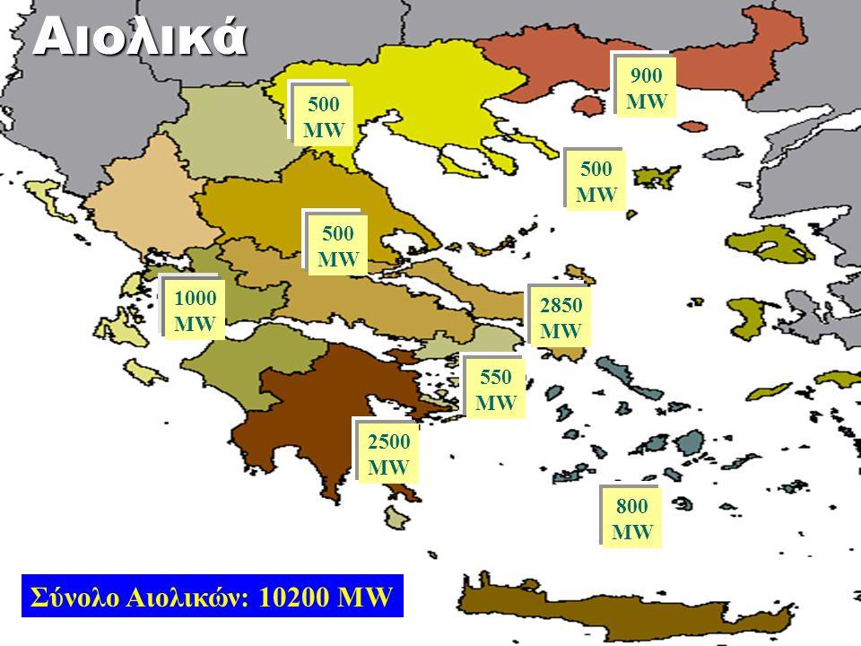 2850 MW 550 MW 900 MW 1000 MW 500 MW 2500 MW 500 MW 800 MW 500 MW Σύνολο Αιολικών: 10200 MWΑιολικά