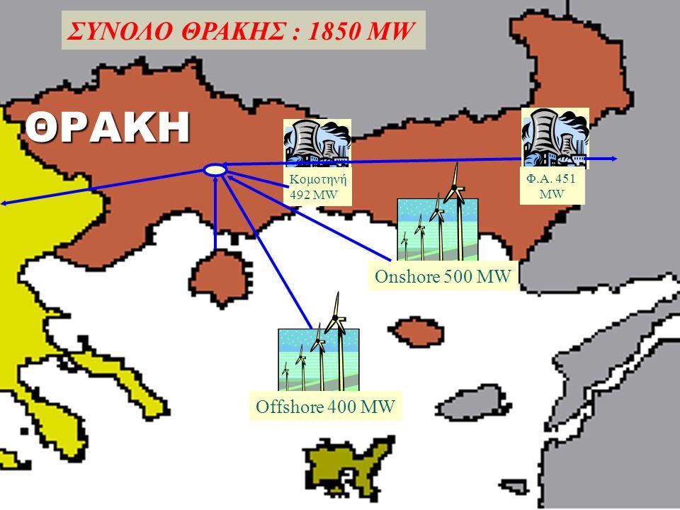 Φ.Α. 451 MW Offshore 400 MWOnshore 500 MW Κομοτηνή 492 MW ΣΥΝΟΛΟ ΘΡΑΚΗΣ : 1850 MW ΘΡΑΚΗ