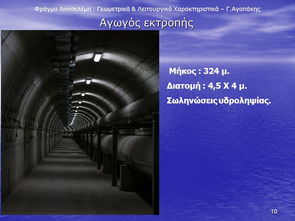 10 Φράγμα Αποσελέμη : Γεωμετρικά & Λειτουργικά Χαρακτηριστικά – Γ.Αγαπάκης Αγωγός εκτροπής Μήκος : 324 μ. Διατομή : 4,5 Χ 4 μ. Σωληνώσεις υδροληψίας.