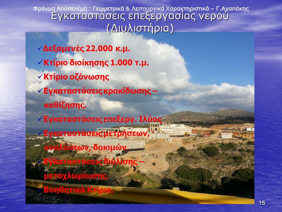 15 Φράγμα Αποσελέμη : Γεωμετρικά & Λειτουργικά Χαρακτηριστικά – Γ.Αγαπάκης Εγκαταστάσεις επεξεργασίας νερού (Διυλιστήρια) Δεξαμενές 22.000 κ.μ. Κτίριο