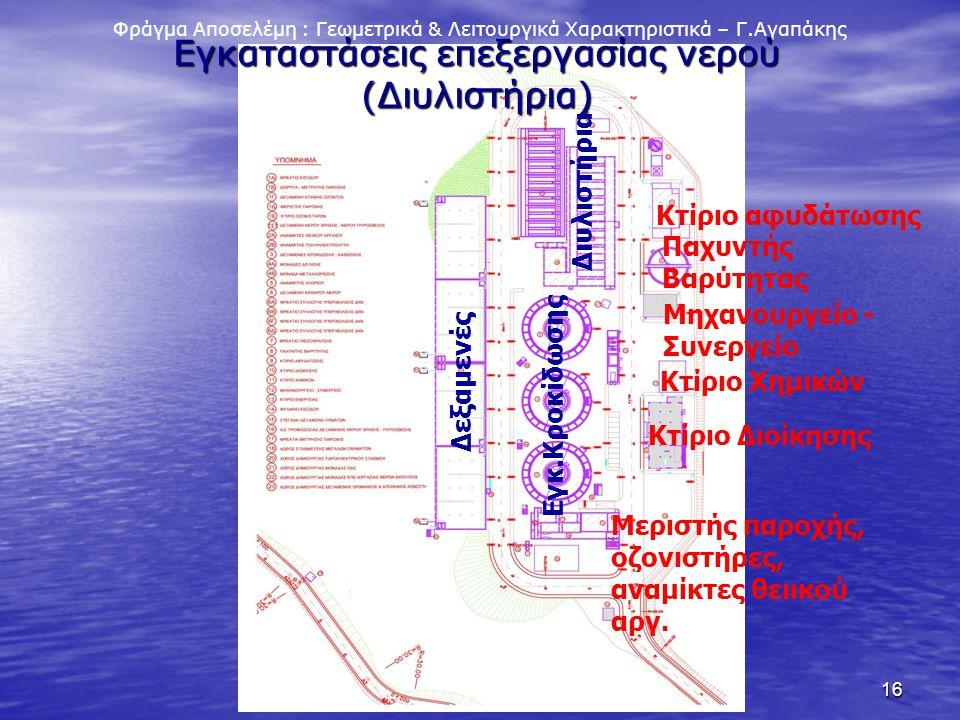 16 Φράγμα Αποσελέμη : Γεωμετρικά & Λειτουργικά Χαρακτηριστικά – Γ.Αγαπάκης Εγκαταστάσεις επεξεργασίας νερού (Διυλιστήρια) Δεξαμενές Εγκ.Κροκίδωσης Διυ