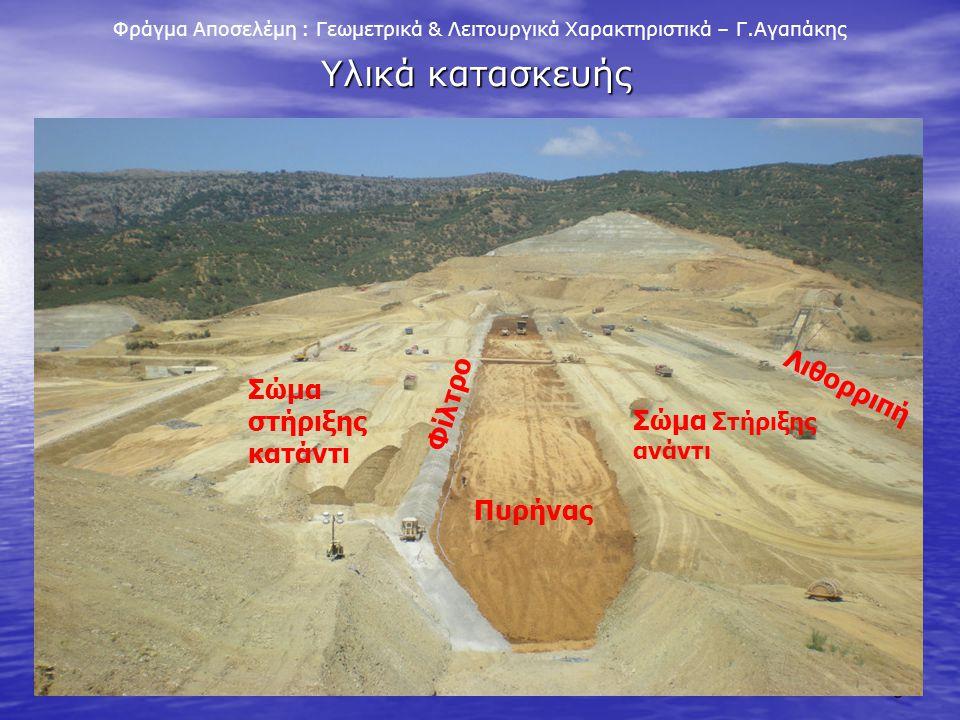 6 Φράγμα Αποσελέμη : Γεωμετρικά & Λειτουργικά Χαρακτηριστικά – Γ.Αγαπάκης Το φράγμα Μήκος : 660 m Ύψος max : 62,5 m Πλάτος έδρ.