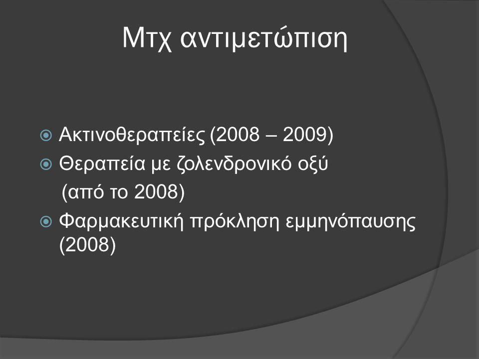 Μτχ αντιμετώπιση  Ακτινοθεραπείες (2008 – 2009)  Θεραπεία με ζολενδρονικό οξύ (από το 2008)  Φαρμακευτική πρόκληση εμμηνόπαυσης (2008)