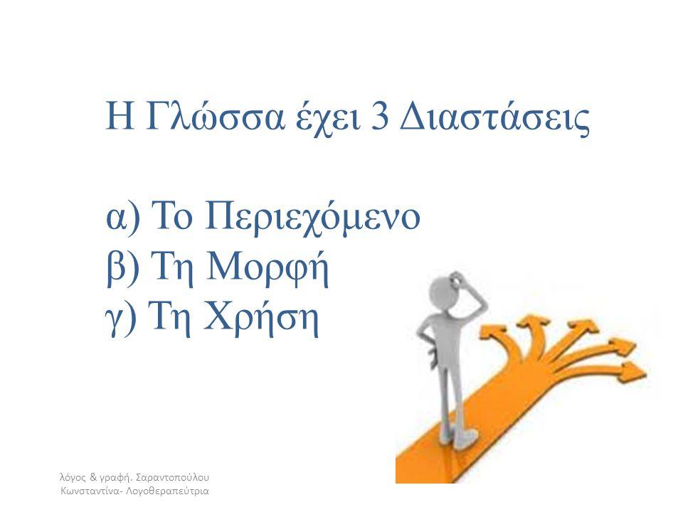 Η Γλώσσα έχει 3 Διαστάσεις α) Το Περιεχόμενο β) Τη Μορφή γ) Τη Χρήση λόγος & γραφή. Σαραντοπούλου Κωνσταντίνα- Λογοθεραπεύτρια