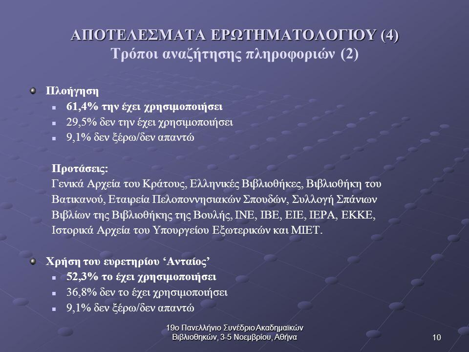 10 19ο Πανελλήνιο Συνέδριο Ακαδημαϊκών Βιβλιοθηκών, 3-5 Νοεμβρίου, Αθήνα ΑΠΟΤΕΛΕΣΜΑΤΑ ΕΡΩΤΗΜΑΤΟΛΟΓΙΟΥ (4) ΑΠΟΤΕΛΕΣΜΑΤΑ ΕΡΩΤΗΜΑΤΟΛΟΓΙΟΥ (4) Τρόποι αναζήτησης πληροφοριών (2) Πλοήγηση 61,4% την έχει χρησιμοποιήσει 29,5% δεν την έχει χρησιμοποιήσει 9,1% δεν ξέρω/δεν απαντώ Προτάσεις: Γενικά Αρχεία του Κράτους, Ελληνικές Βιβλιοθήκες, Βιβλιοθήκη του Βατικανού, Εταιρεία Πελοποννησιακών Σπουδών, Συλλογή Σπάνιων Βιβλίων της Βιβλιοθήκης της Βουλής, ΙΝΕ, ΙΒΕ, ΕΙΕ, ΙΕΡΑ, ΕΚΚΕ, Ιστορικά Αρχεία του Υπουργείου Εξωτερικών και ΜΙΕΤ.