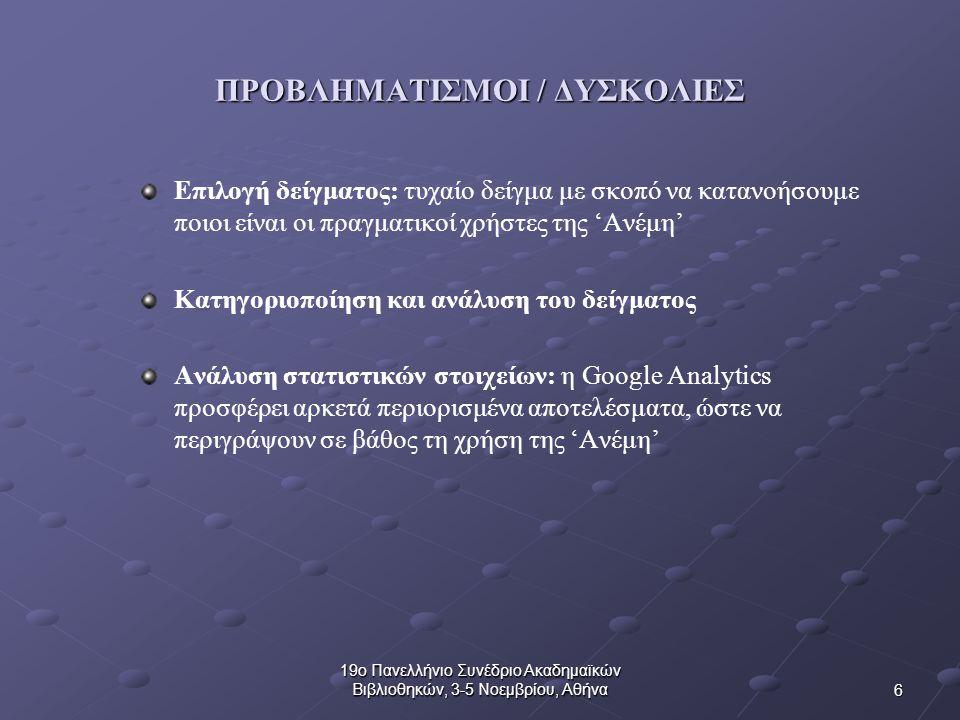 6 19ο Πανελλήνιο Συνέδριο Ακαδημαϊκών Βιβλιοθηκών, 3-5 Νοεμβρίου, Αθήνα ΠΡΟΒΛΗΜΑΤΙΣΜΟΙ / ΔΥΣΚΟΛΙΕΣ Επιλογή δείγματος: τυχαίο δείγμα με σκοπό να κατανοήσουμε ποιοι είναι οι πραγματικοί χρήστες της 'Ανέμη' Κατηγοριοποίηση και ανάλυση του δείγματος Ανάλυση στατιστικών στοιχείων: η Google Analytics προσφέρει αρκετά περιορισμένα αποτελέσματα, ώστε να περιγράψουν σε βάθος τη χρήση της 'Ανέμη'
