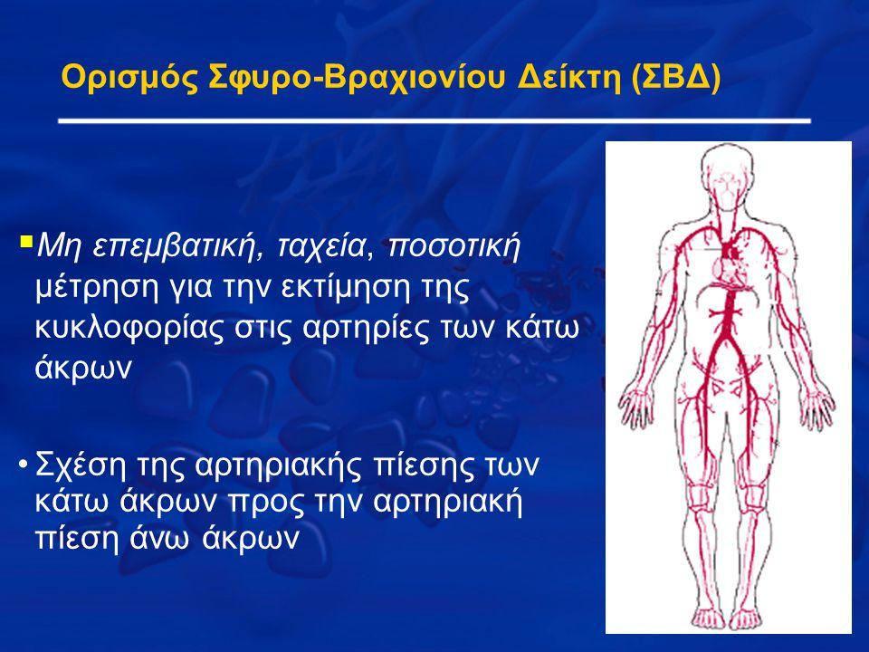 Ορισμός Σφυρο-Βραχιονίου Δείκτη (ΣΒΔ)  Μη επεμβατική, ταχεία, ποσοτική μέτρηση για την εκτίμηση της κυκλοφορίας στις αρτηρίες των κάτω άκρων Σχέση τη