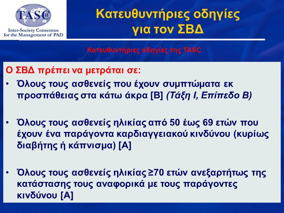 Κατευθυντήριες οδηγίες για τον ΣΒΔ Κατευθυντήριες οδηγίες της TASC Ο ΣBΔ πρέπει να μετράται σε: Όλους τους ασθενείς που έχουν συμπτώματα εκ προσπάθεια
