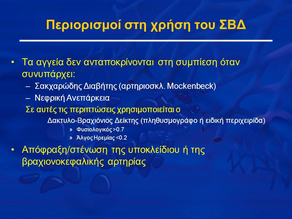 Περιορισμοί στη χρήση του ΣΒΔ Τα αγγεία δεν ανταποκρίνονται στη συμπίεση όταν συνυπάρχει: –Σακχαρώδης Διαβήτης (αρτηριοσκλ.