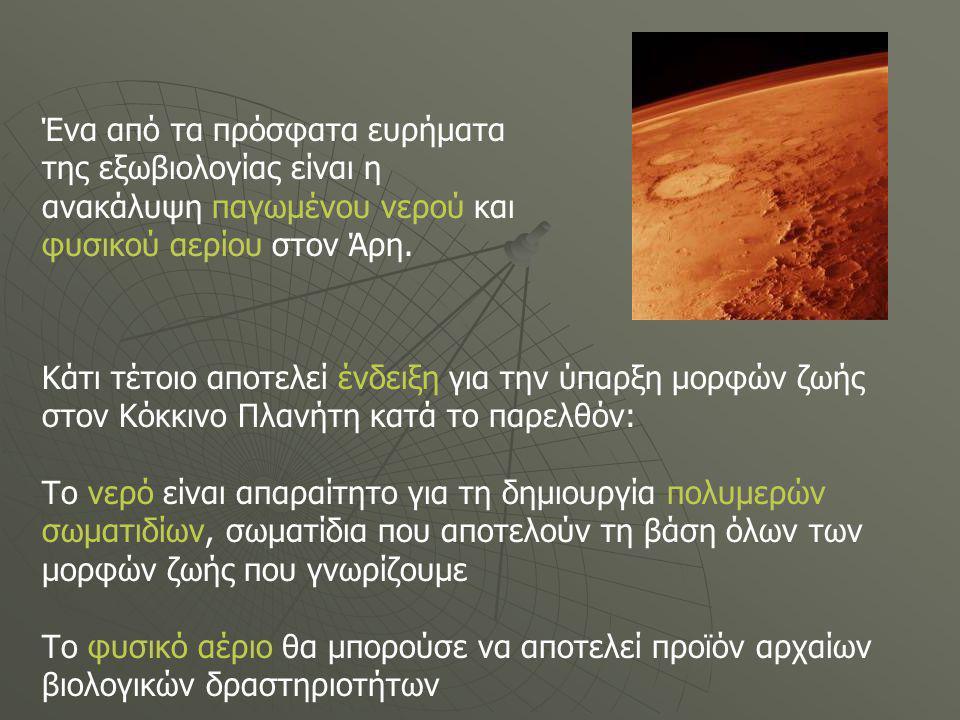 Ένα από τα πρόσφατα ευρήματα της εξωβιολογίας είναι η ανακάλυψη παγωμένου νερού και φυσικού αερίου στον Άρη.