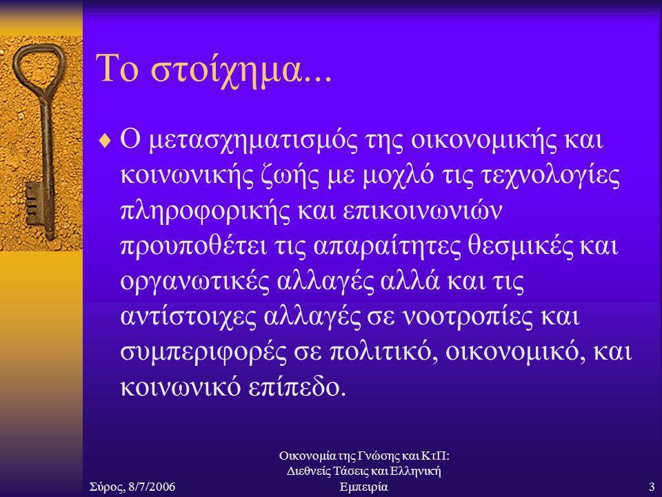 Σύρος, 8/7/2006 Οικονομία της Γνώσης και ΚτΠ: Διεθνείς Τάσεις και Ελληνική Εμπειρία3 Το στοίχημα...