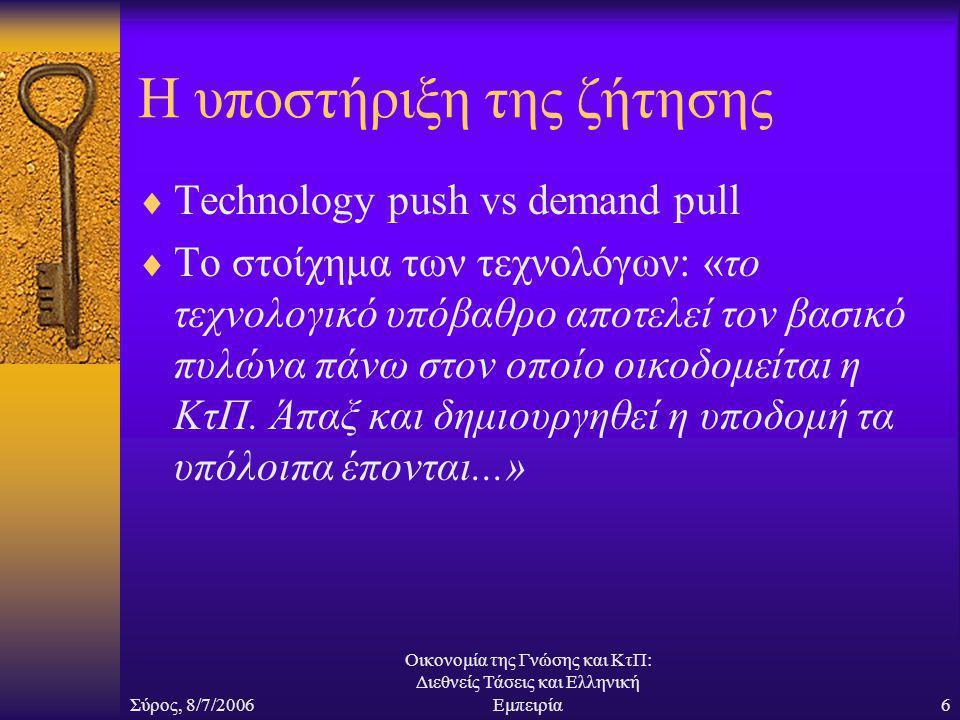 Σύρος, 8/7/2006 Οικονομία της Γνώσης και ΚτΠ: Διεθνείς Τάσεις και Ελληνική Εμπειρία6 Η υποστήριξη της ζήτησης  Technology push vs demand pull  Το στοίχημα των τεχνολόγων: «το τεχνολογικό υπόβαθρο αποτελεί τον βασικό πυλώνα πάνω στον οποίο οικοδομείται η ΚτΠ.