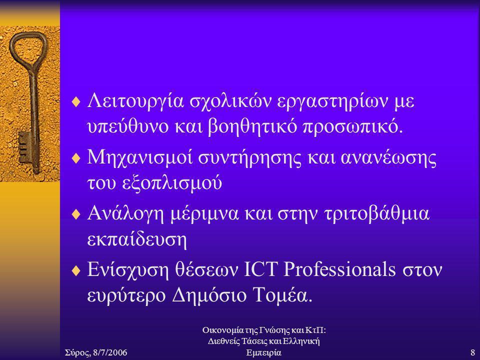 Σύρος, 8/7/2006 Οικονομία της Γνώσης και ΚτΠ: Διεθνείς Τάσεις και Ελληνική Εμπειρία8  Λειτουργία σχολικών εργαστηρίων με υπεύθυνο και βοηθητικό προσωπικό.