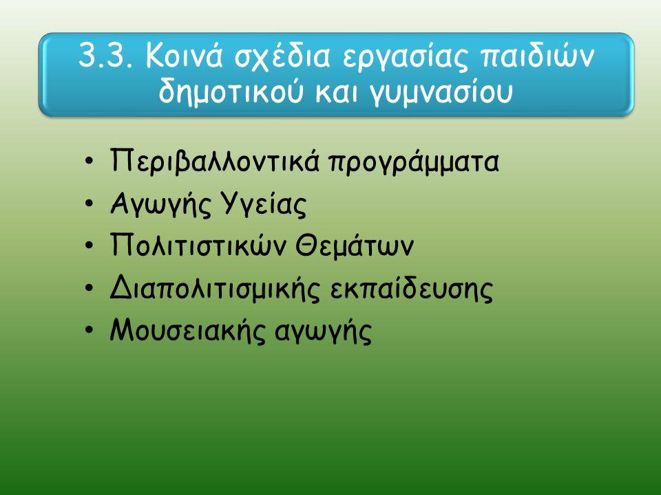 Περιβαλλοντικά προγράμματα Αγωγής Υγείας Πολιτιστικών Θεμάτων Διαπολιτισμικής εκπαίδευσης Μουσειακής αγωγής 3.3.