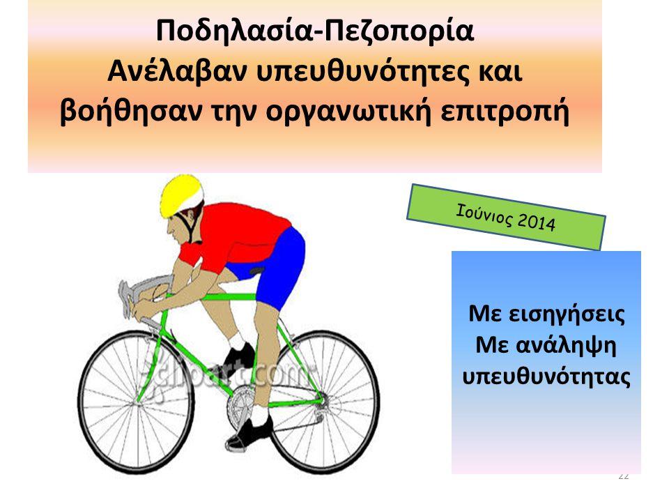 22 Ιούνιος 2014 Ποδηλασία-Πεζοπορία Ανέλαβαν υπευθυνότητες και βοήθησαν την οργανωτική επιτροπή Με εισηγήσεις Με ανάληψη υπευθυνότητας