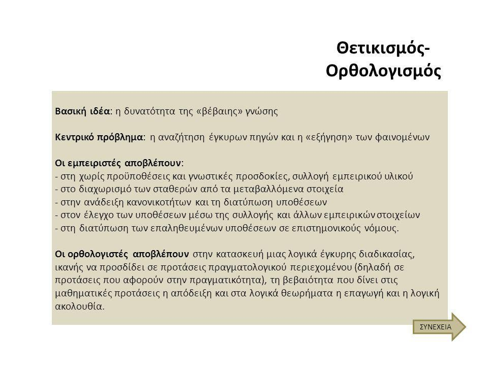 Ο Θετικισμός-Ορθολογισμός μεταφέρθηκε ως «ερευνητικό παράδειγμα» από τις Φυσικές Επιστήμες στον χώρο των Επιστημών του Ανθρώπου.