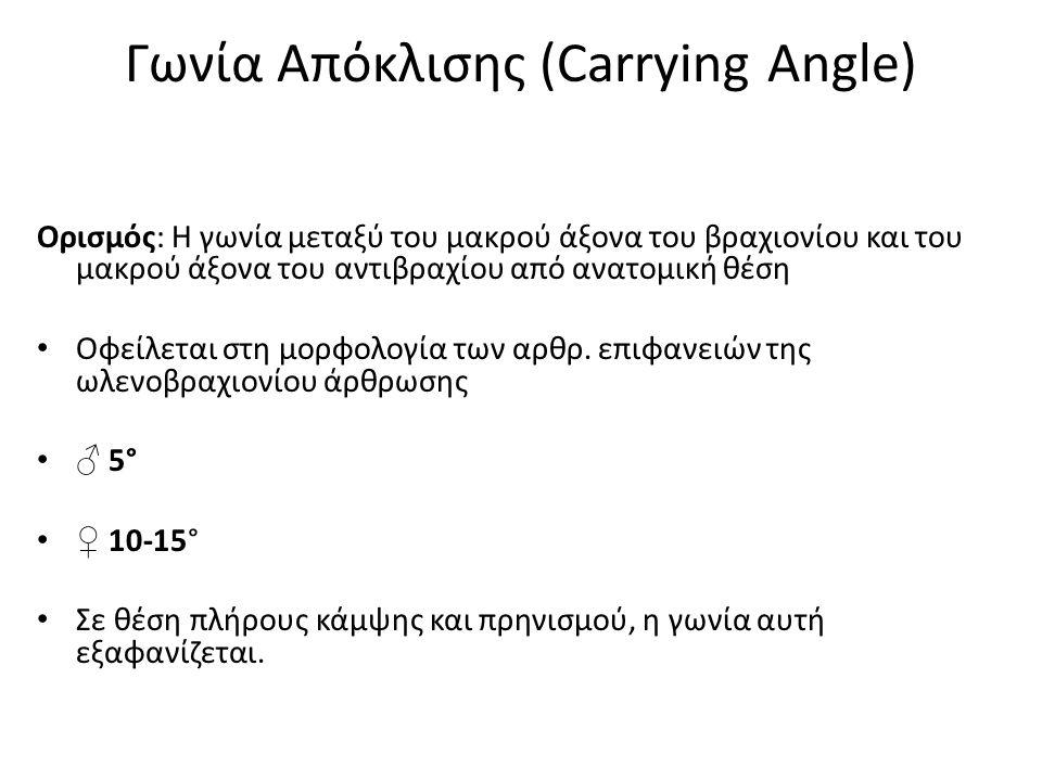 Γωνία Απόκλισης (Carrying Angle) Ορισμός: Η γωνία μεταξύ του μακρού άξονα του βραχιονίου και του μακρού άξονα του αντιβραχίου από ανατομική θέση Οφείλεται στη μορφολογία των αρθρ.