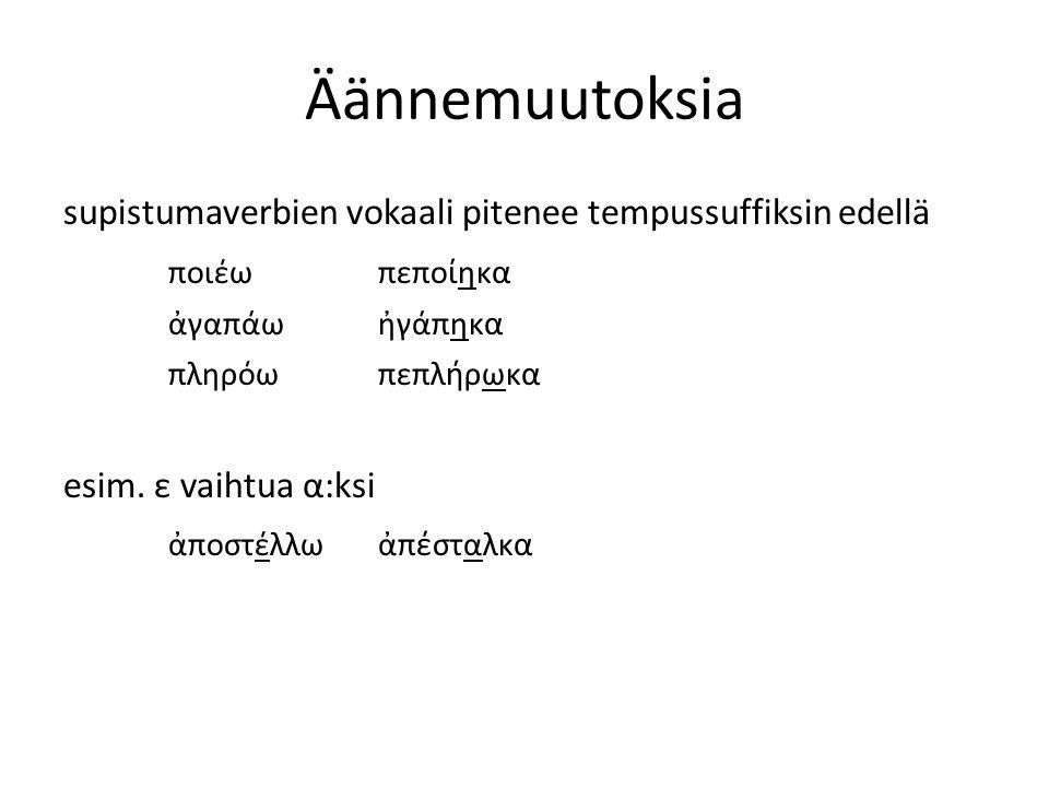 Äännemuutoksia supistumaverbien vokaali pitenee tempussuffiksin edellä ποιέωπεπο ί ηκ α ἀγαπάωἠγάπηκ α πληρόωπεπλ ή ρωκ α esim.