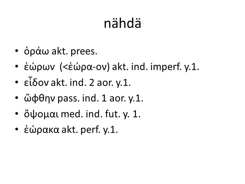 nähdä ὁράω akt. prees. ἑώρων (<ἑώρα-ον) akt. ind. imperf. y.1. εἶδον akt. ind. 2 aor. y.1. ὤφθην pass. ind. 1 aor. y.1. ὄψομαι med. ind. fut. y. 1. ἑώ