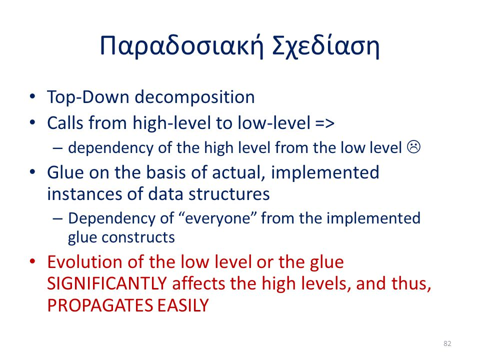 Παραδοσιακή Σχεδίαση Top-Down decomposition Calls from high-level to low-level => – dependency of the high level from the low level  Glue on the basis of actual, implemented instances of data structures – Dependency of everyone from the implemented glue constructs Evolution of the low level or the glue SIGNIFICANTLY affects the high levels, and thus, PROPAGATES EASILY 82