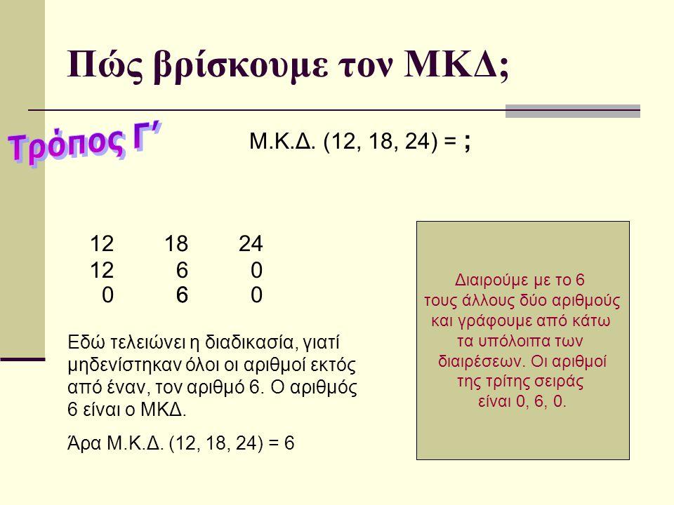 Γράφω τον αριθμό 12 και σχεδιάζω μία κάθετη γραμμή, όπως στο διπλανό παράδειγμα Πώς βρίσκουμε τον ΜΚΔ; Μ.Κ.Δ.