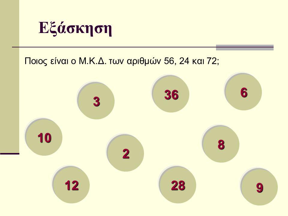 Εξάσκηση Ποιος είναι ο Μ.Κ.Δ. των αριθμών 56, 24 και 72; 8888 2222 3333 6666 12 28 36 10 9999