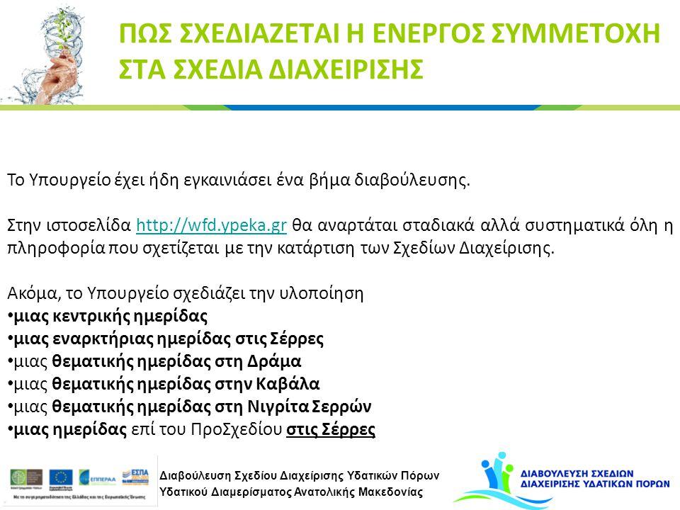 Διαβούλευση Σχεδίου Διαχείρισης Υδατικών Πόρων Υδατικού Διαμερίσματος Ανατολικής Μακεδονίας ΠΩΣ ΣΧΕΔΙΑΖΕΤΑΙ Η ΕΝΕΡΓΟΣ ΣΥΜΜΕΤΟΧΗ ΣΤΑ ΣΧΕΔΙΑ ΔΙΑΧΕΙΡΙΣΗΣ Το Υπουργείο έχει ήδη εγκαινιάσει ένα βήμα διαβούλευσης.