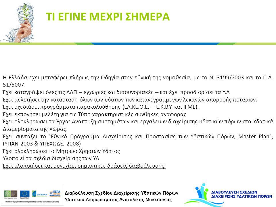 Διαβούλευση Σχεδίου Διαχείρισης Υδατικών Πόρων Υδατικού Διαμερίσματος Ανατολικής Μακεδονίας ΤΙ ΕΓΙΝΕ ΜΕΧΡΙ ΣΗΜΕΡΑ Η Ελλάδα έχει μεταφέρει πλήρως την Οδηγία στην εθνική της νομοθεσία, με το Ν.