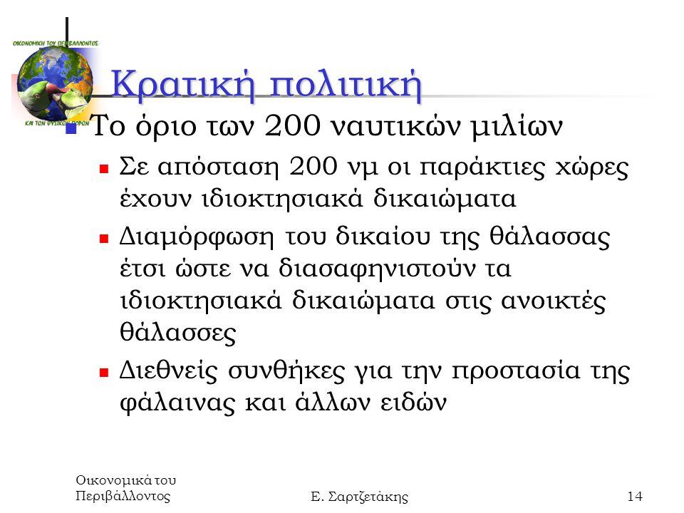 Οικονομικά του ΠεριβάλλοντοςΕ. Σαρτζετάκης14 Κρατική πολιτική Το όριο των 200 ναυτικών μιλίων Σε απόσταση 200 νμ οι παράκτιες χώρες έχουν ιδιοκτησιακά
