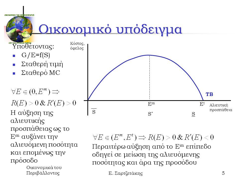 Οικονομικά του ΠεριβάλλοντοςΕ. Σαρτζετάκης5 Οικονομικό υπόδειγμα Υποθέτοντας: G/E=f(S) Σταθερή τιμή Σταθερό MC Κόστος, όφελος Αλιευτική προσπάθεια S S