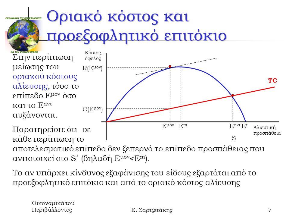 Οικονομικά του ΠεριβάλλοντοςΕ. Σαρτζετάκης7 Οριακό κόστος και προεξοφλητικό επιτόκιο Στην περίπτωση μείωσης του οριακού κόστους αλίευσης, τόσο το επίπ