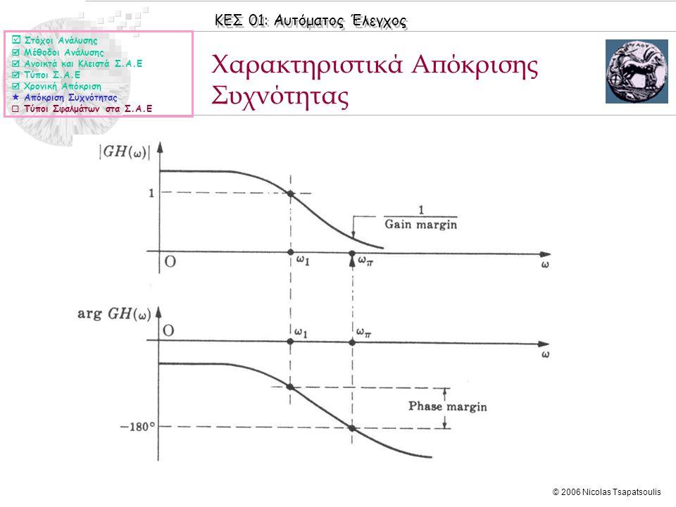 ΚΕΣ 01: Αυτόματος Έλεγχος © 2006 Nicolas Tsapatsoulis Χαρακτηριστικά Απόκρισης Συχνότητας  Στόχοι Ανάλυσης  Μέθοδοι Ανάλυσης  Ανοικτά και Κλειστά Σ