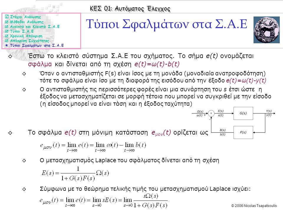 ΚΕΣ 01: Αυτόματος Έλεγχος © 2006 Nicolas Tsapatsoulis ◊Έστω το κλειστό σύστημα Σ.Α.Ε του σχήματος. Το σήμα e(t) ονομάζεται σφάλμα και δίνεται από τη σ