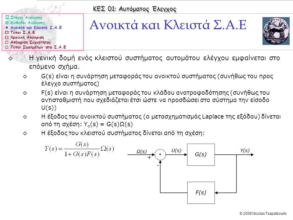 ΚΕΣ 01: Αυτόματος Έλεγχος © 2006 Nicolas Tsapatsoulis ◊Σφάλμα επιτάχυνσης e α ενός κλειστού Σ.Α.Ε ονομάζουμε το σφάλμα στη μόνιμη κατάσταση e μον (t) όταν η είσοδος αυξάνεται σταθερά ανάλογα με το τετράγωνο του χρόνου, δηλαδή ◊Επειδή σε αυτή τη περίπτωση έχουμε το σφάλμα επιτάχυνσης δίνεται από τη σχέση: ◊Οπότε το σφάλμα στη μόνιμη κατάσταση θα είναι, υπό την προϋπόθεση ότι sE(s) είναι ευσταθής, (όπου K α η σταθερά σφάλματος επιτάχυνσης): ◊Το τελικό συμπέρασμα είναι ότι και το σφάλμα επιτάχυνσης εξαρτάται από τον τύπο του κλειστού Σ.Α.Ε Σφάλμα Επιτάχυνσης  Στόχοι Ανάλυσης  Μέθοδοι Ανάλυσης  Ανοικτά και Κλειστά Σ.Α.Ε  Τύποι Σ.Α.Ε  Χρονική Απόκριση  Απόκριση Συχνότητας  Τύποι Σφαλμάτων στα Σ.Α.Ε