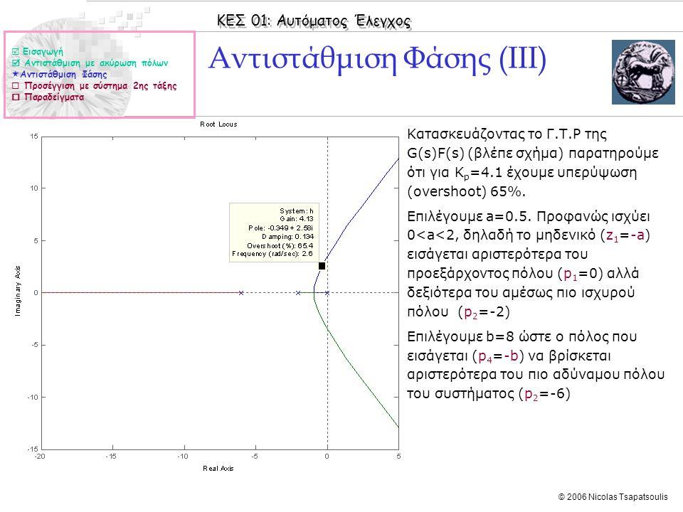 ΚΕΣ 01: Αυτόματος Έλεγχος © 2006 Nicolas Tsapatsoulis Αντιστάθμιση Φάσης (ΙΙΙ) ◊Κατασκευάζοντας το Γ.Τ.Ρ της G(s)F(s) (βλέπε σχήμα) παρατηρούμε ότι γι