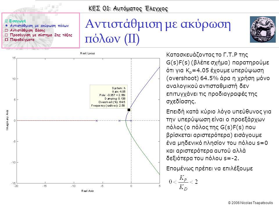 ΚΕΣ 01: Αυτόματος Έλεγχος © 2006 Nicolas Tsapatsoulis Αντιστάθμιση με ακύρωση πόλων (ΙΙ) ◊Κατασκευάζοντας το Γ.Τ.Ρ της G(s)F(s) (βλέπε σχήμα) παρατηρο