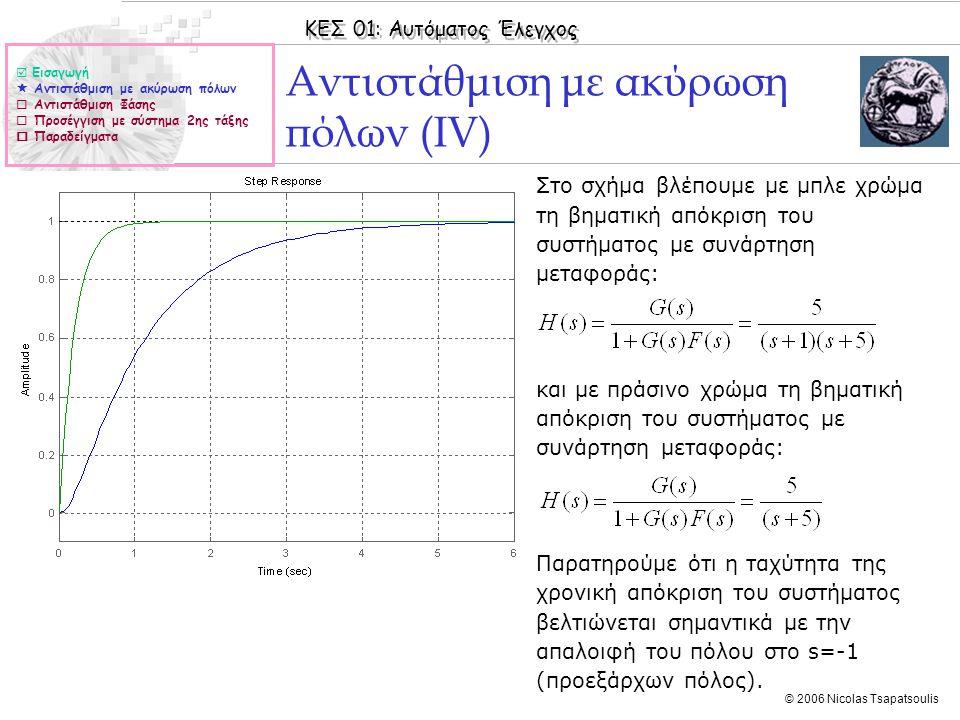 ΚΕΣ 01: Αυτόματος Έλεγχος © 2006 Nicolas Tsapatsoulis Αντιστάθμιση με ακύρωση πόλων (ΙV) ◊Στο σχήμα βλέπουμε με μπλε χρώμα τη βηματική απόκριση του συ