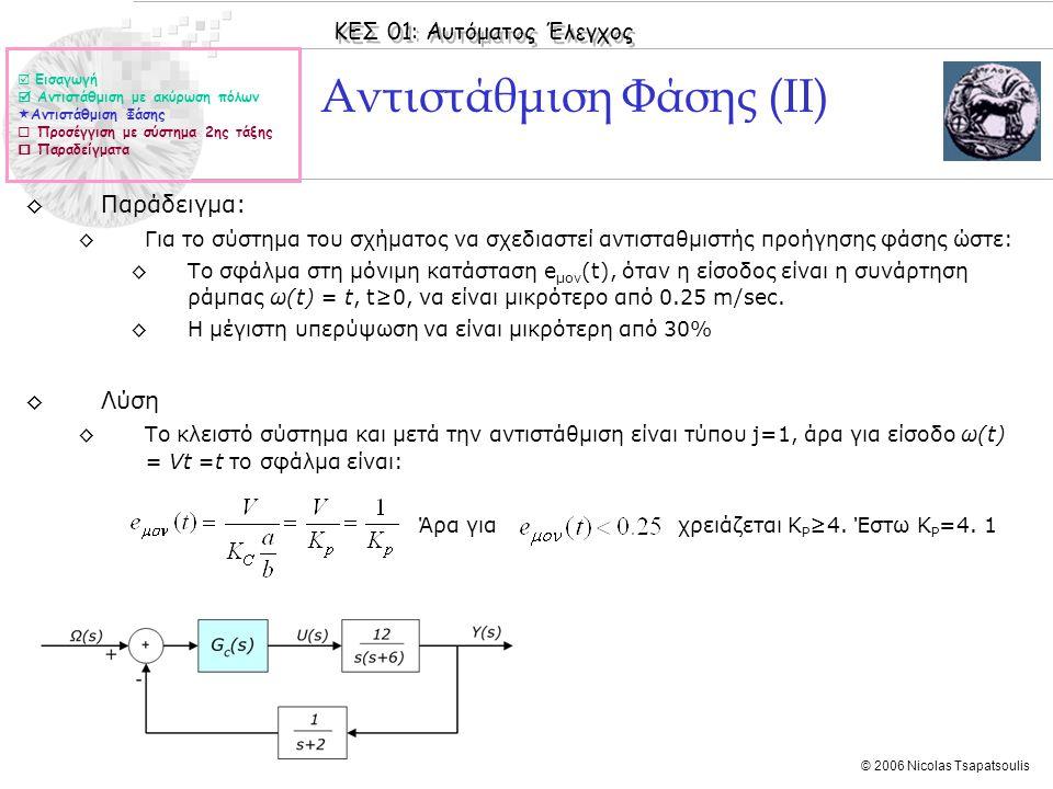 ΚΕΣ 01: Αυτόματος Έλεγχος © 2006 Nicolas Tsapatsoulis Αντιστάθμιση Φάσης (ΙΙ) ◊Παράδειγμα: ◊Για το σύστημα του σχήματος να σχεδιαστεί αντισταθμιστής π