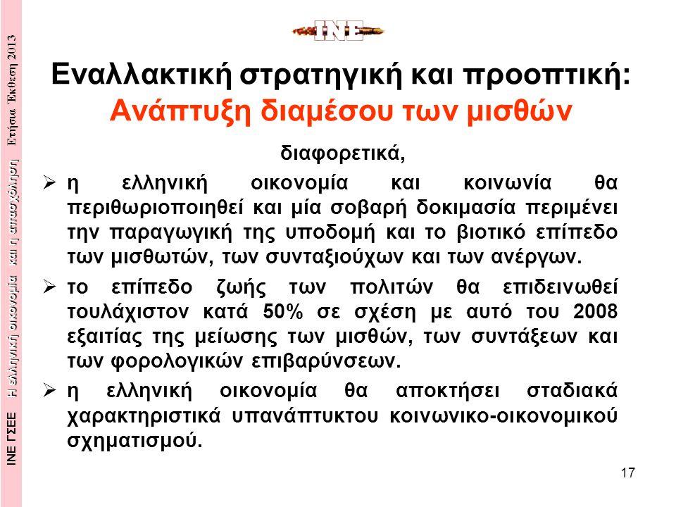 17 Εναλλακτική στρατηγική και προοπτική: Ανάπτυξη διαμέσου των μισθών διαφορετικά,  η ελληνική οικονομία και κοινωνία θα περιθωριοποιηθεί και μία σοβαρή δοκιμασία περιμένει την παραγωγική της υποδομή και το βιοτικό επίπεδο των μισθωτών, των συνταξιούχων και των ανέργων.