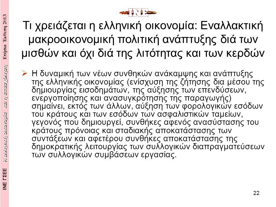 22  Η δυναμική των νέων συνθηκών ανάκαμψης και ανάπτυξης της ελληνικής οικονομίας (ενίσχυση της ζήτησης δια μέσου της δημιουργίας εισοδημάτων, της αύξησης των επενδύσεων, ενεργοποίησης και ανασυγκρότησης της παραγωγής) σημαίνει, εκτός των άλλων, αύξηση των φορολογικών εσόδων του κράτους και των εσόδων των ασφαλιστικών ταμείων, γεγονός που δημιουργεί, συνθήκες αφενός ανασύστασης του κράτους πρόνοιας και σταδιακής αποκατάστασης των συντάξεων και αφετέρου συνθήκες αποκατάστασης της δημοκρατικής λειτουργίας των συλλογικών διαπραγματεύσεων των συλλογικών συμβάσεων εργασίας.