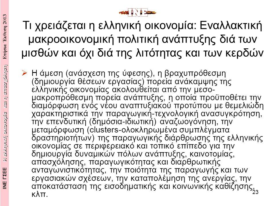 23  Η άμεση (ανάσχεση της ύφεσης), η βραχυπρόθεσμη (δημιουργία θέσεων εργασίας) πορεία ανάκαμψης της ελληνικής οικονομίας ακολουθείται από την μεσο- μακροπρόθεσμη πορεία ανάπτυξης, η οποία προϋποθέτει την διαμόρφωση ενός νέου αναπτυξιακού προτύπου με θεμελιώδη χαρακτηριστικά την παραγωγική-τεχνολογική ανασυγκρότηση, την επενδυτική (δημόσια-ιδιωτική) αναζωογόνηση, την μεταμόρφωση (clusters-ολοκληρωμένα συμπλέγματα δραστηριοτήτων) της παραγωγικής διάρθρωσης της ελληνικής οικονομίας σε περιφερειακό και τοπικό επίπεδο για την δημιουργία δυναμικών πόλων ανάπτυξης, καινοτομίας, απασχόλησης, παραγωγικότητας και διαρθρωτικής ανταγωνιστικότητας, την ποιότητα της παραγωγής και των εργασιακών σχέσεων, την καταπολέμηση της ανεργίας, την αποκατάσταση της εισοδηματικής και κοινωνικής καθίζησης, κλπ.