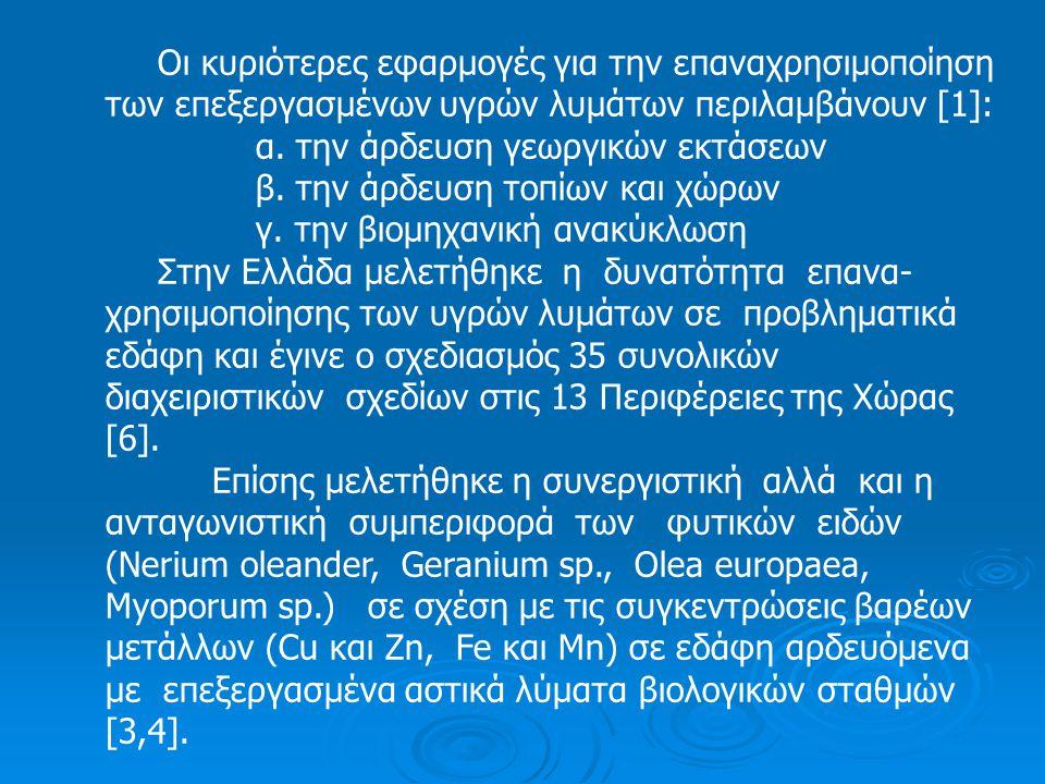 Άρδευση χώρων ανάπλασης – αποκατάστασης Η διαχείριση και η επαναχρησιμοποίηση στην συ- νέχεια των υγρών αστικών λυμάτων Βιολογικών Σταθ- μών, αποτελεί σήμερα μια Διεθνή πρακτική, που η ε- φαρμογή της στην Ελλάδα είναι ικανή ν α συμβάλλει στην απελευθέρωση ικανών ποσοτήτων νερού άρδευ- σης, που θα χρησιμοποιηθούν στην άρδευση καλλιερ- γήσιμων αλλά και ερημοποιημένων εκτάσεων [5].