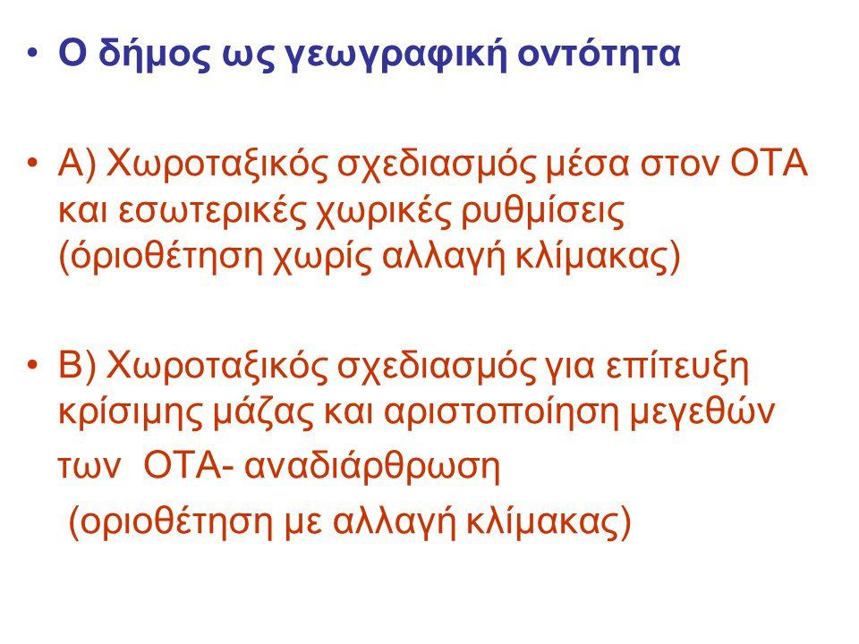 Ο δήμος ως γεωγραφική οντότητα Α) Χωροταξικός σχεδιασμός μέσα στον ΟΤΑ και εσωτερικές χωρικές ρυθμίσεις (όριοθέτηση χωρίς αλλαγή κλίμακας) Β) Χωροταξικός σχεδιασμός για επίτευξη κρίσιμης μάζας και αριστοποίηση μεγεθών των ΟΤΑ- αναδιάρθρωση (οριοθέτηση με αλλαγή κλίμακας)